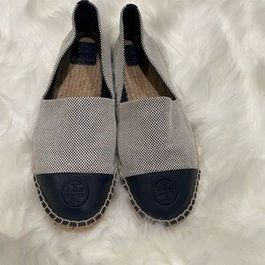 Tory Burch gray and blue canvas espadrille flats